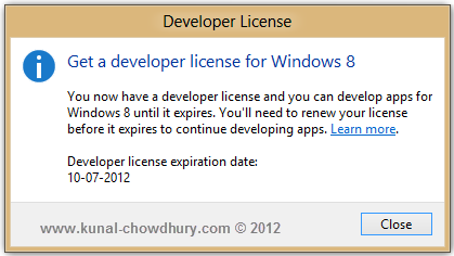 Windows 8 Developer License - Get the License