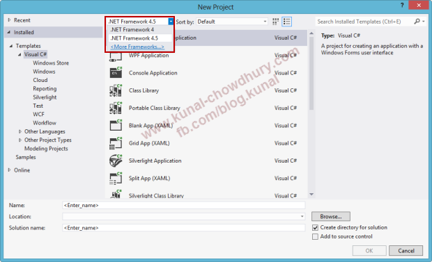 Default .NET Framework in Visual Studio 2012