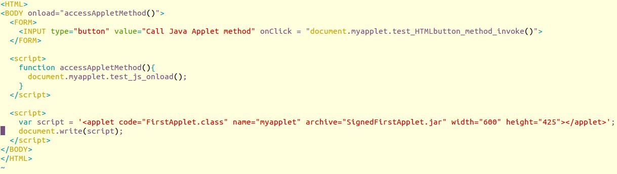 Restrict signed Java applets