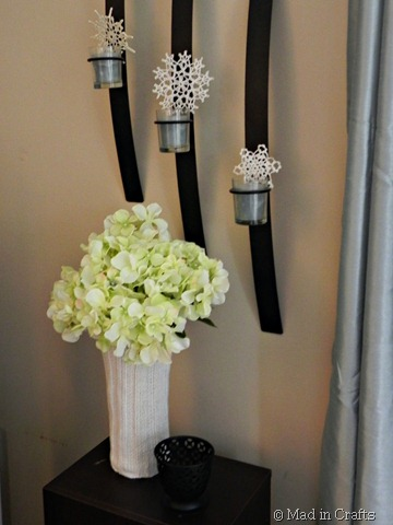 snowball hydrangeas in sweater vase