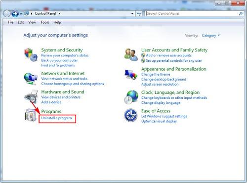 Cách gỡ phần mềm Windows 7