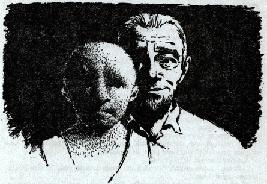 One of the illustrations by van Dongen accompanying the publication in British edition of Astounding Science Fiction magazine of short story The Chosen People by Robert Silverberg and Randall Garrett. Image shows a human teacher with his alien student.