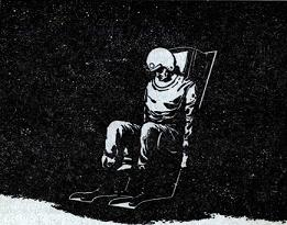 Illustration by van Dongen accompanying the publication in Astounding Science Fiction, British edition, August 1956 issue of short story Man in the Sky by Algis Budrys. Image shows the dead pilot of first space flight in earth orbit.