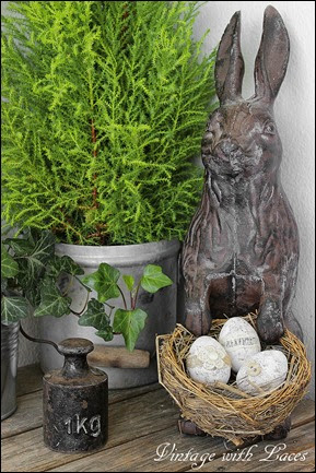 Easter Decoration - Cast Iron Bunny with Nest