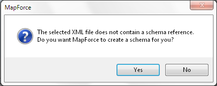MapForce offers to generate an XML Schema