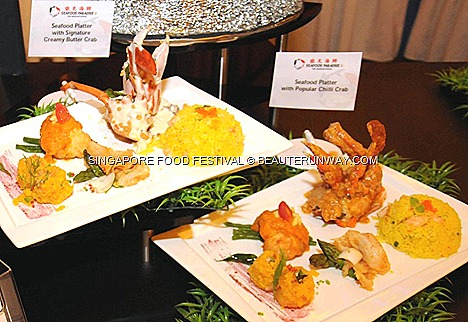 Singapore Food Festival 2012 Food Village Seafood Paradise Platter consisting of Seafood Paradise's Popular Chilli Crab Signature Creamy Butter Crab Stir-fried Live Geoduck Asparagus in XO Sauce, Crisp-fried Prawns