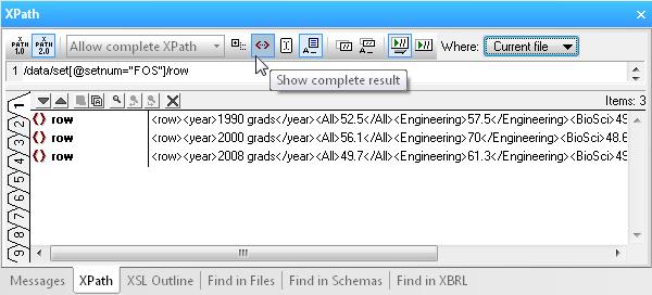 XMLSpy XPath Analyzer window