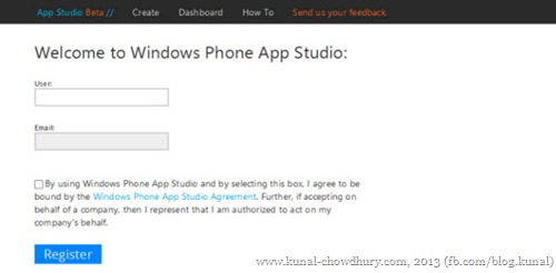 Register your account for WP App Studio
