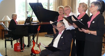 The Windsor Warblers (guest artists from Knightsbridge Lifestyle Village) with NSOKC member, Margaret Black, second from the right. Photo courtesy of Dennis Lyons.