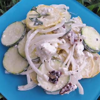 Summer Squash Salad with Mustard Mint Aioli