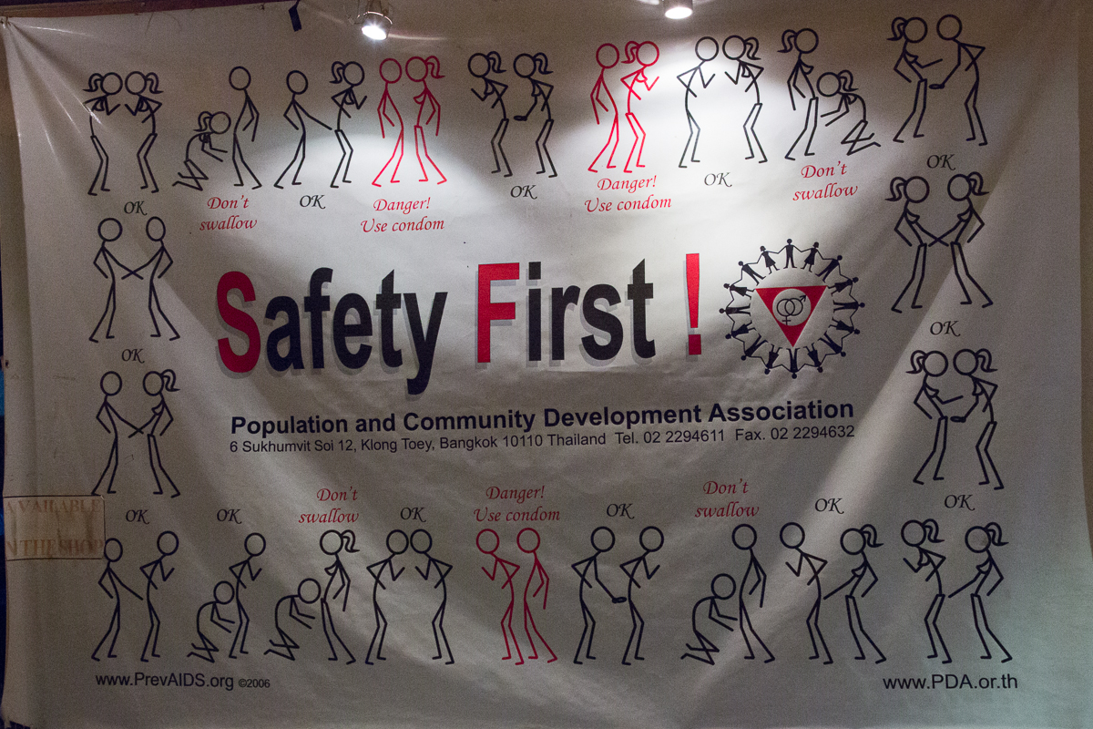 Sex education poster with different combinations of stick figure people doing different acts with safety suggestions