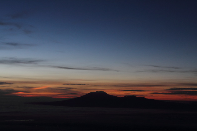 Gunung Lawu as seen from Gunung Merapi during sunrise