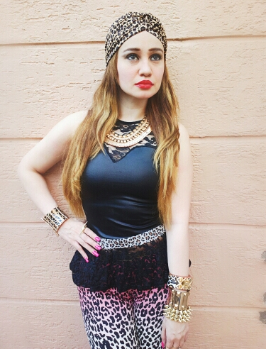 Jane Norman Leather & lace Peplum Top and Animal Print Fashion Turban