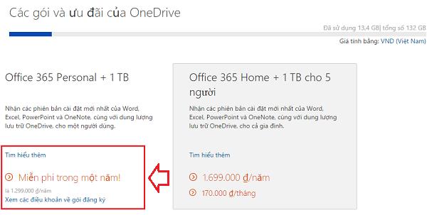 Hot - Microsoft miễn phí 1 năm Office 365 Personal + 1TB