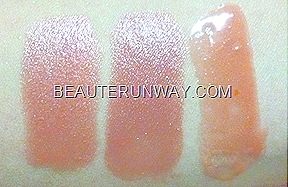 Swatches of FANCL Moisture Rouge in Jelly Pink and Sweet Rose Lip Gloss in Milky Beige
