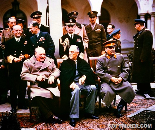 British Prime Minister Winston Churchill (sitting l-r), US President Franklin D. Roosevelt, and Soviet dictator Josepf Stalin have met from 4 to 11 February 1945 for a conference in Yalta.
