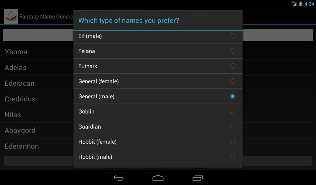 Fantasy Name Generator – (Android Apps) — AppAgg