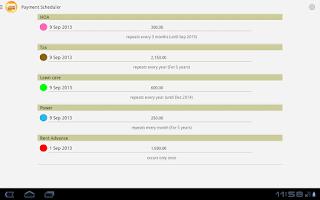 Screenshot of Payment Scheduler