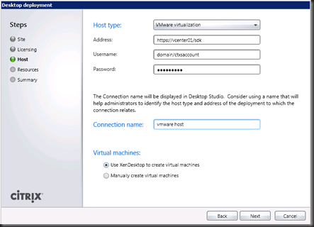 Citrix XenDesktop: Creating a Service Account to Manage VM