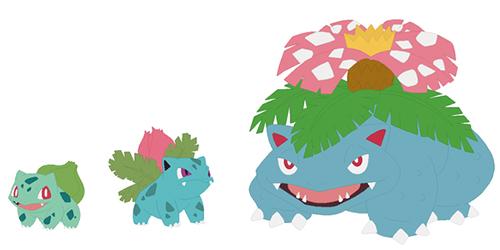 Bulbasaur, Ivysaur, Venusaur