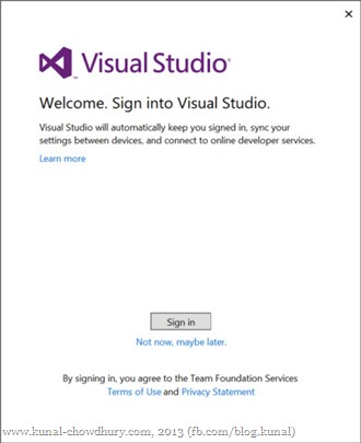 Sign into Visual Studio 2013