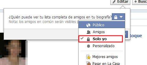 no mostrar  la lista de amigos en facebook