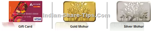 Axis bank offering discount on Gold & Silver Mohur