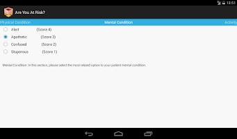 Screenshot of Norton Scale 4 Pressure Ulcer