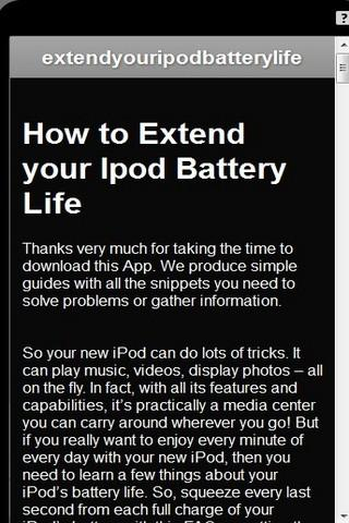 Extend Ipod Battery FAQ