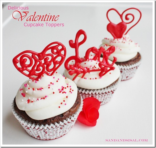 Delicious Valentine Cupcake Toppers