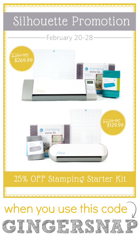 Silhouette Promotion for February 20-18 ~ use the code GINGERSNAP at checkout~ GingerSnapCrafts.com #spon