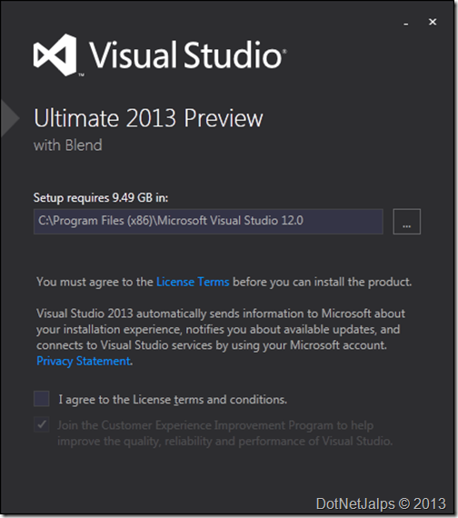 Visual Studio 2013 Preview installation location and features