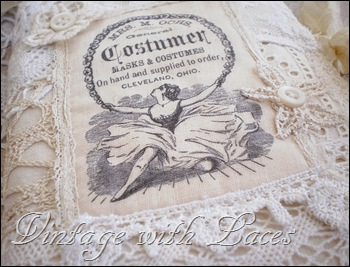 Needle Book with Lace and Vintage Image