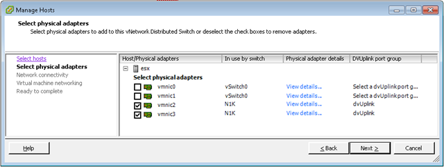 VMware Networking - Hosts connected to vDS - Select physical adapters