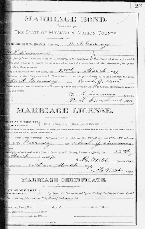 Garraway, William and Sarah Burt marriage certificate 1887