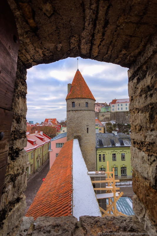 medieval city walls window tower tallinn estonia