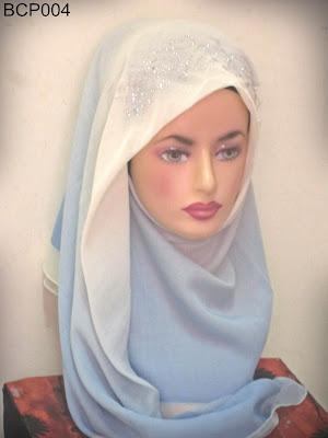 tudung bawal 2 tone crown princess biru muda
