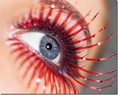 woman with red falsies