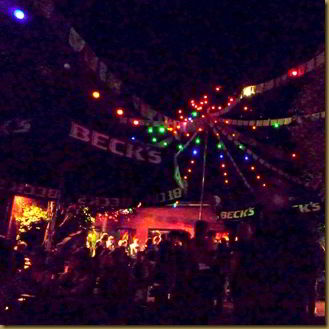 The pretty lights of the outdoor area.