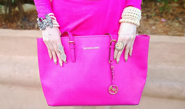 Pink Micheal Kors Jet Set Tote, Pearl Jewelry, Crystal Ring
