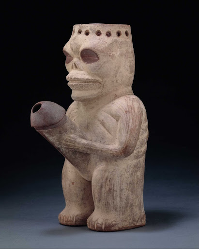 Sculptural ceramic ceremonial vessel that represents a sexually active inhabitant of the underworld ML004199