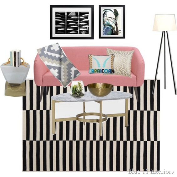 Black and white living room with pink couch 2