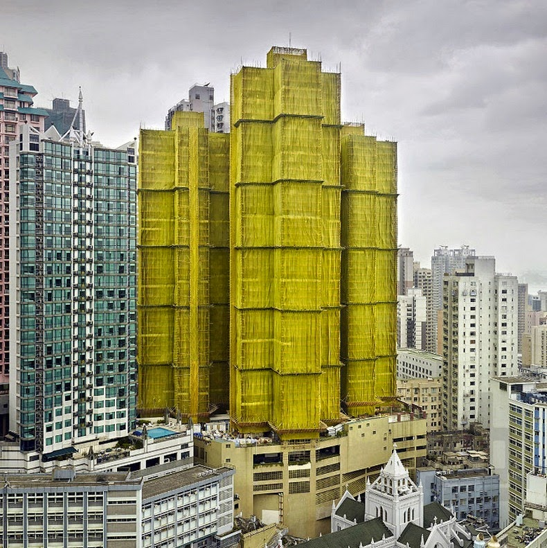 Colorful Buildings: Buildings Under Construction Wrapped In Colorful Fabric