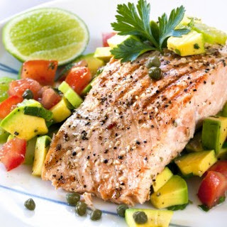 Poached Salmon with Avocado Salad