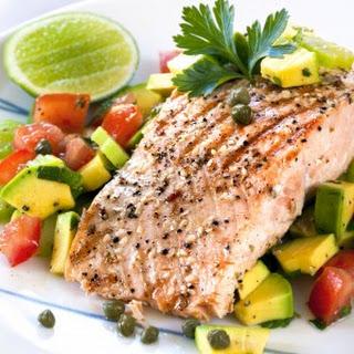 Poached Salmon with Avocado Salad.