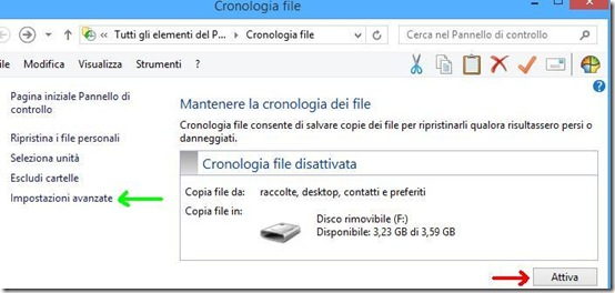 Windows 8 Cronologia file