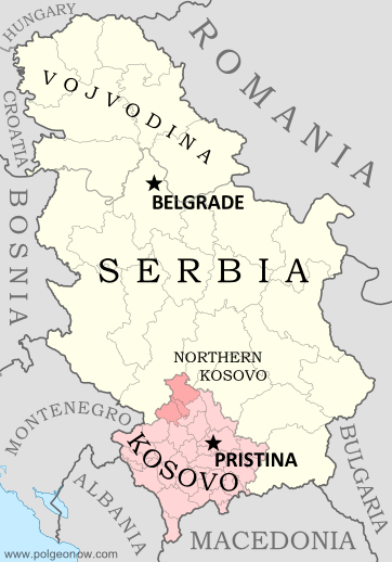 Official map of today's Serbia