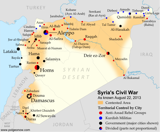 Map of fighting and territorial control in Syria's Civil War (Free Syrian Army rebels, Kurdish groups, Al-Nusra Front and others), updated for August 2013. Includes recent locations of conflict and territorial control changes, including Salma (Latakia), Nawa (Daraa), and Ras al-Ayn (Hasakah).