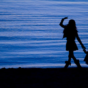 Let me show you the way... by Brandon Chapman - People Family ( water, girls, silhouette, little ones, baby girl, canon 7d, love, holding ands, style, blue, family, woman, black, lake tahoe, canon 70-200mm,  )
