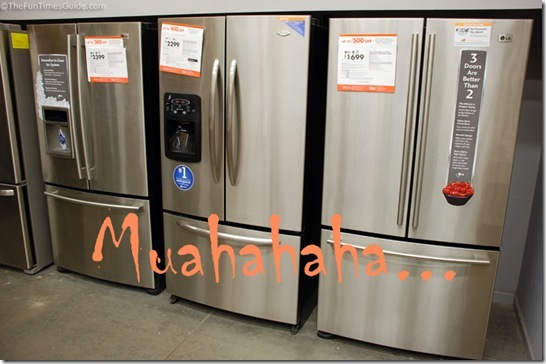 the maytag we like surrounded by the lg refrigerators